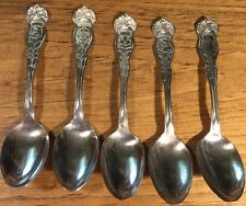 Lot Of Five Rogers Eagle Top State Souvenir Teaspoons Conn. Maine Wash. Ill. Mi