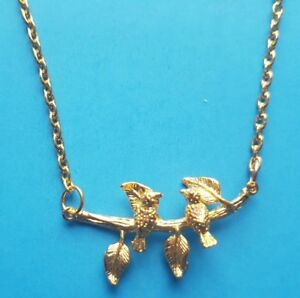 Gold Plated Birds On A Branch Pendant Split Chain Necklace Gift Wrapped