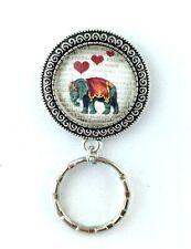 Elephant with Dictionary Art Magnetic Badge Eyeglass Holder