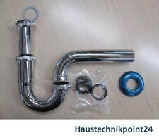 "Röhrensifon 1 1/4"" Röhrensiphon Sifon Siphon Ablauf Waschbecken Edelstahl NEU"