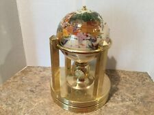 A Kalifano Mother of Pearl, gemstone globe with 3 clocks And Thermometer
