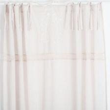 Elvira Zement Weiss bestickt 2x(145x250cm) Gardinen Vorhänge Shabby Chic Vintage