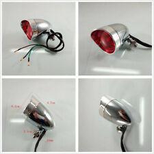 1 Pcs Chrome Red Lens 12V Motorcycle Cafe Racer Brake Stop Light Rear Tail Light