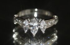 3 x Marquise Cut Created Diamond Eternity 18K White Gold GF Ring Size L / 6