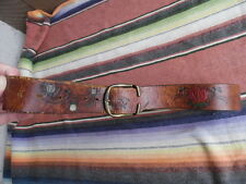 Men's Vintage Hippie Boho Leather Tooled Hand Painted Opium Poppy Flower Belt 32