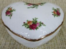 Royal Albert Old Country Roses Sculpt Heart Shaped Trinket Jewelry Box Storage