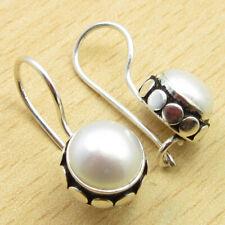"Earrings 0.8"" Gift For Loved Ones 925 Silver Plated June Birthstone Pearl Lovely"
