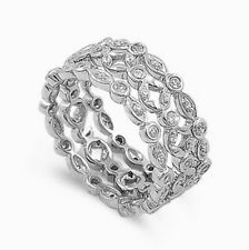 USA Silver CZ Band Ring Sterling Silver 925 Best Price Jewelry Selectable