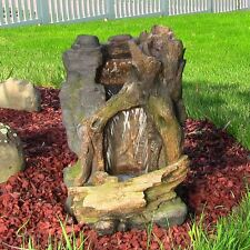 Sunnydaze Rustic Cave Water Fountain w/LED Lights - indoor outdoor electric