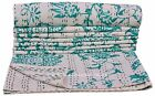 Bohemian Throw Kantha Quilt Bedding Coverlet Bedspread White Floral Quilt RallI
