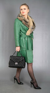 38 GORGEOUS REAL GREEN LEATHER COAT FUR JACKET GRAY FOX BEAUTIFUL LOOK SIZE S