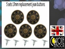 17mm Brass Denim Jeans Buttons Stud Hammer On Repair or Replace 17 mm UK