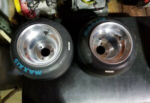 2- New Go Kart Polished Wheels And blue Maxxis Tires,American bolt pattern Nice!
