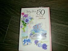 TODAY YOU'RE 50 AND STILL FABULOUS CUPS SAUCERS FLOWERS FEMALE NEW FREE POSTAGE