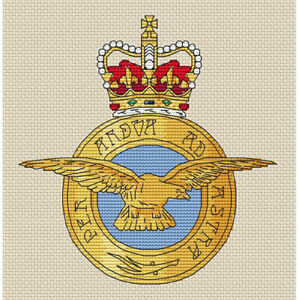 "RAF Badge Cross Stitch Design (W152mm x H152mm (W6"" x H6""), kit or chart)"