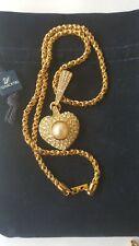 Swarovski Sal Signed Gold Tone Clear Crystals Pendant & Swarovski Rope Chain