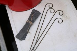 Set of Four Real Slate Plant Labels and Metal Crooks. Allotment Kitchen Garden.