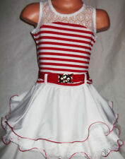 GIRLS RED & WHITE STRIPE LACE TRIM RUFFLE RA RA DANCE PARTY DRESS age 2-3