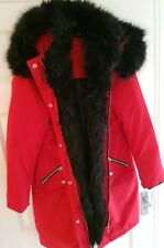 River Island red and black fur trim long line parka coat size 6 Brand new