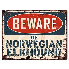 Ppdg0110 Beware of Norwegian Elkhound Plate Rustic Tin Chic Sign Decor Gift