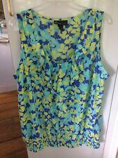 Lane Bryant Womens Sleeveless Blue Yellow Floral Print Blouse Ruffle Front Sz 24