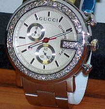 New Men's 101m Gucci chrono 1.92ct.aprx.custom set real  Diamond  Watch YA101339