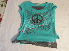 "Girl's ""Peace-Love and Happiness"" green top sz X-L"