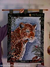 "Beautiful 38""T by 26""W Leopard Tapestry Wall Hanging w Pole - 32 1/2"" Made Usa!"
