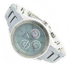 Fossil Damen Armband Uhr grün Perlmutt Day Date Chrono ES-3039 5ATM Bat neu N82