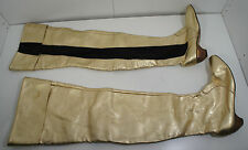 """VTG 29"""" Custom Crotch Thigh High Gold black Boots 60s 1970s Leather wood 9.5 1/2"""