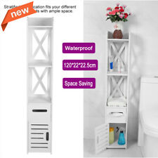 Tall Bathroom Toilet Caddy Storage Rack Cabinet Shelf Organizer Paper Holder Us