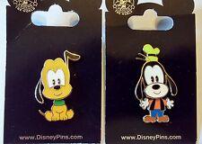 Pluto & Goofy Bobbin Heads Lot of 2 Disney Park Pins - NEW