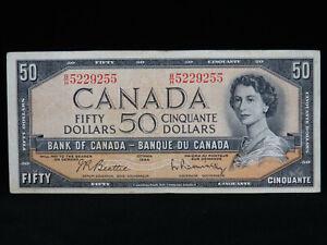 1954 $50 Dollar Bank of Canada Banknote Bill B/H 5229255 Beattie Rasminsky VF Gr