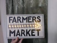 Folk Art Primitive Vintage Sign Advertising Farmer's Market Americana Decoration