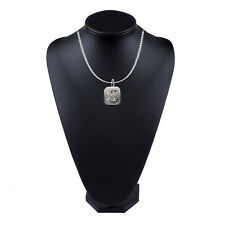 """16"""" Silver Plated Curb Necklace Any Letter Initial 2x2cm Pewter On"""