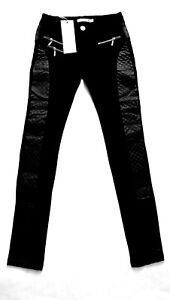 WOMENS  LEGGINGS WITH LEATHER STRENCH PANT TRAUSERS SIZE 6-12