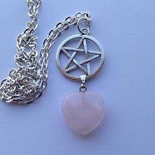 Pentagram With ROSE QUARTZ Gemstone Love HEART Romance Pendant Necklace