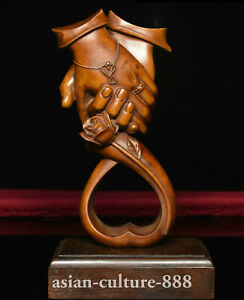 """6"""" Chinese Boxwood Wood rose affectionate sweethearts lovers hand in hand Statue"""