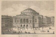 A2220 Copenaghen - Il Teatro reale - Xilografia - Stampa Antica 1895 - Engraving