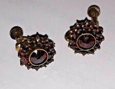 Vintage Bohemian Cut Garnet 830 Silver Screw Back Earrings