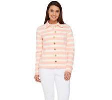 Isaac Mizrahi Live! Striped Button Front Knit Jacket Malibu Peach Size Small