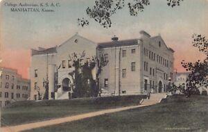Hand Colored Postcard College Auditorium K.S.A.C. in Manhattan, Kansas~128218