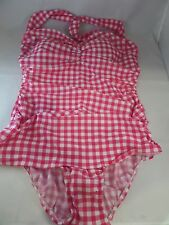 NWT Esther Williams Bathing Beauty Tartan Plus 1pc Swimsuit 16W Red/White Plaid
