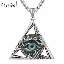 MENDEL Mens Illuminati Masonic Blue Evil All Seeing Eye Hip Hop Pendant Necklace