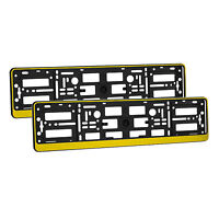 2 x Universal Number Plate Holders Surrounds Frames Any Car - Yellow Effect