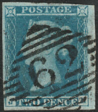 1841 SG14 2d BLUE PLATE 3 VERY FINE 4 MARGINS IRISH BELFAST 62 VARIETY J FLAW