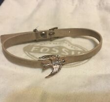 Copper Colored Bird Storage Bag Included Fossil Brand Bracelet Leather Band With