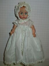 "Vtg Vinyl Plastic 8"" Baby Doll Molded Hair Sleepy Eyes In Christening Outfit"