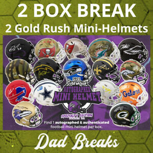 LAS VEGAS RAIDERS Autographed/Signed GOLD RUSH SPECIALTY Mini Helmet 2 BOX BREAK