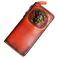 Handmade Handbag Men Genuine Leather Clutch Long Wallet Card Phone Case Purse